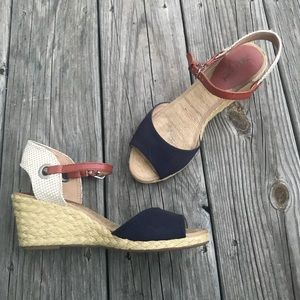 Lucky brand woven wedges w/ leather ankle strap